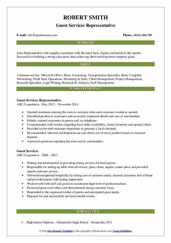 Guest Services Representative Resume Sample