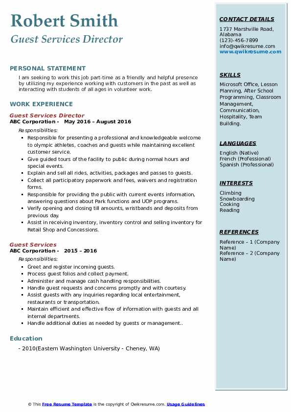 Guest Services Director Resume Sample