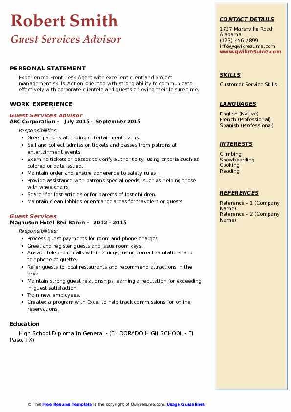 Guest Services Advisor Resume Format