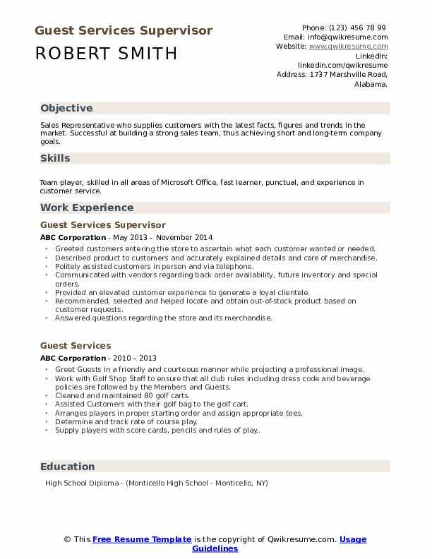 Guest Services Supervisor Resume Model