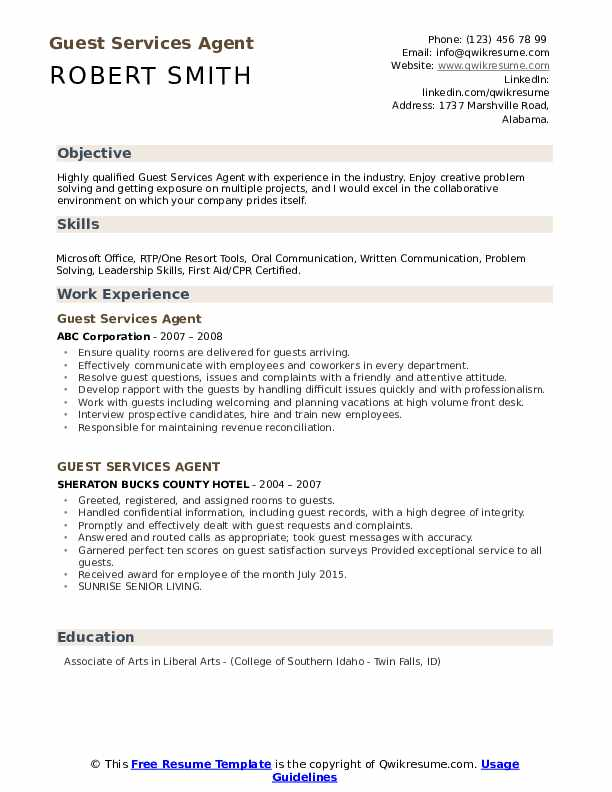 Guest Services Agent Resume Model