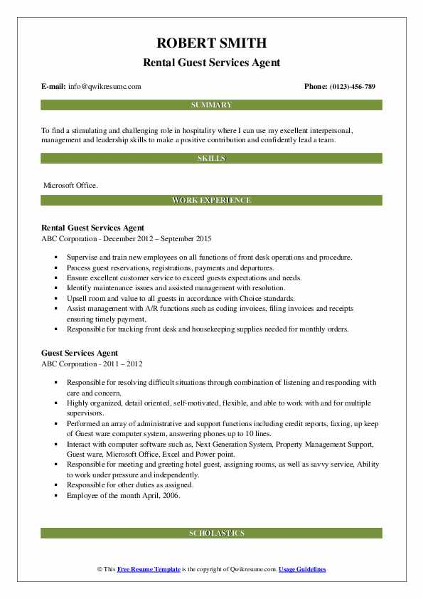 Rental Guest Services Agent Resume Model