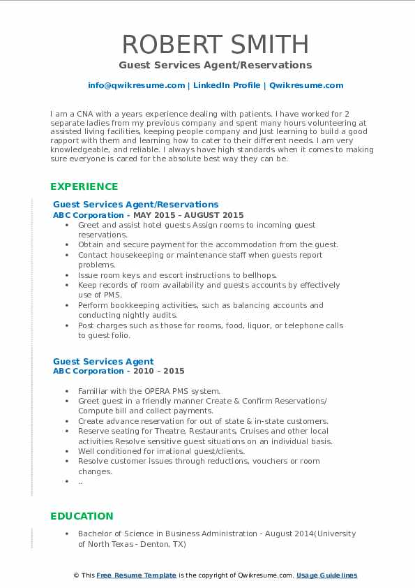 Guest Services Agent/Reservations Resume Template