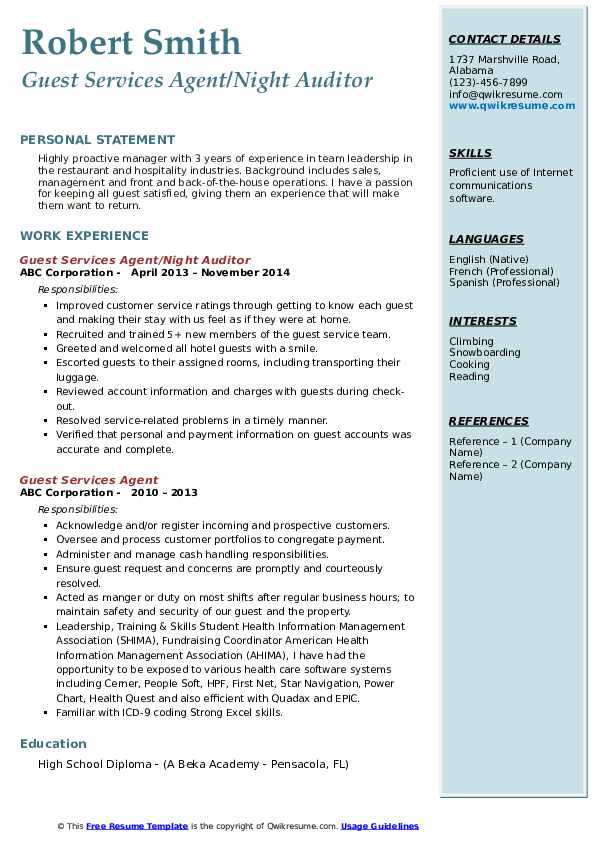 Guest Services Agent/Night Auditor Resume Format