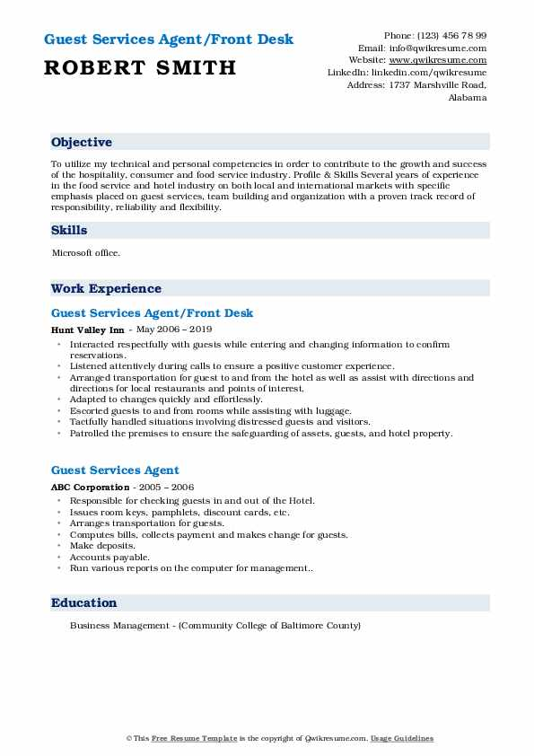 Guest Services Agent/Front Desk Resume Example