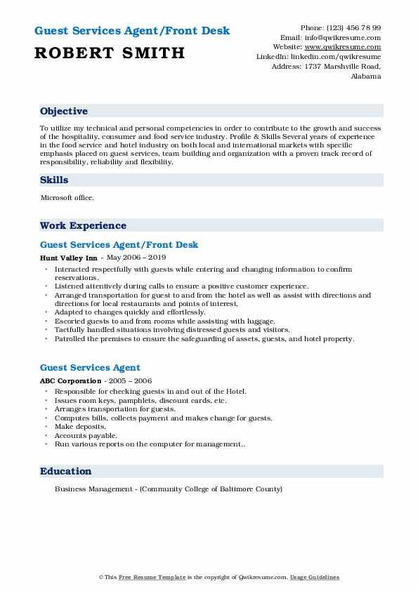 Guest Services Agent/Front Desk Resume Model