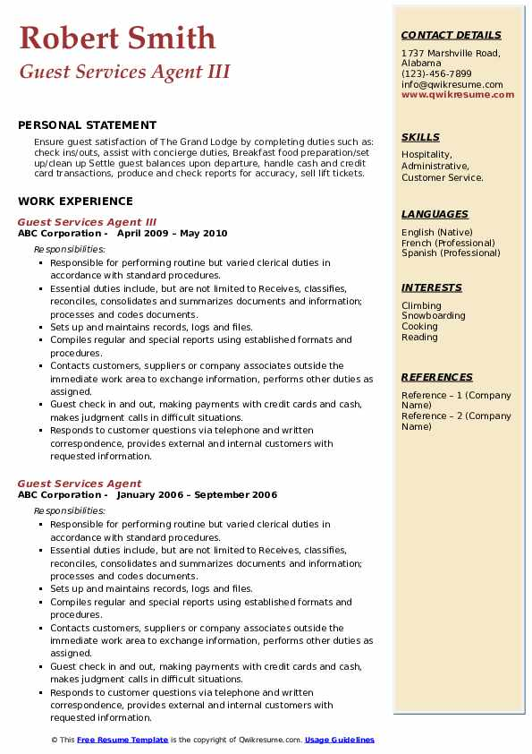 Guest Services Agent III Resume Template