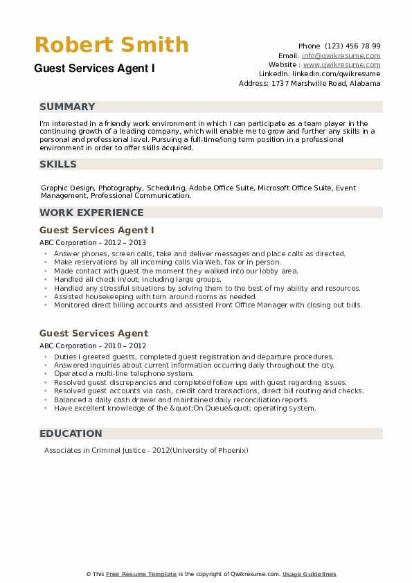 Guest Services Agent I Resume Format