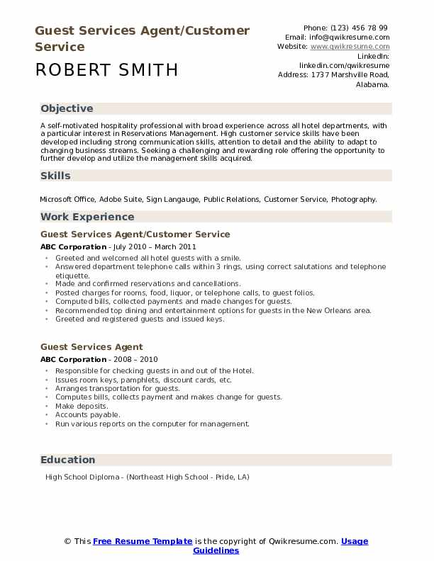 Guest Services Agent/Customer Service Resume Template