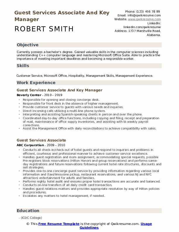 Guest Services Associate And Key Manager Resume Format
