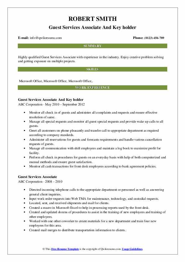 Guest Services Associate And Key holder Resume Sample