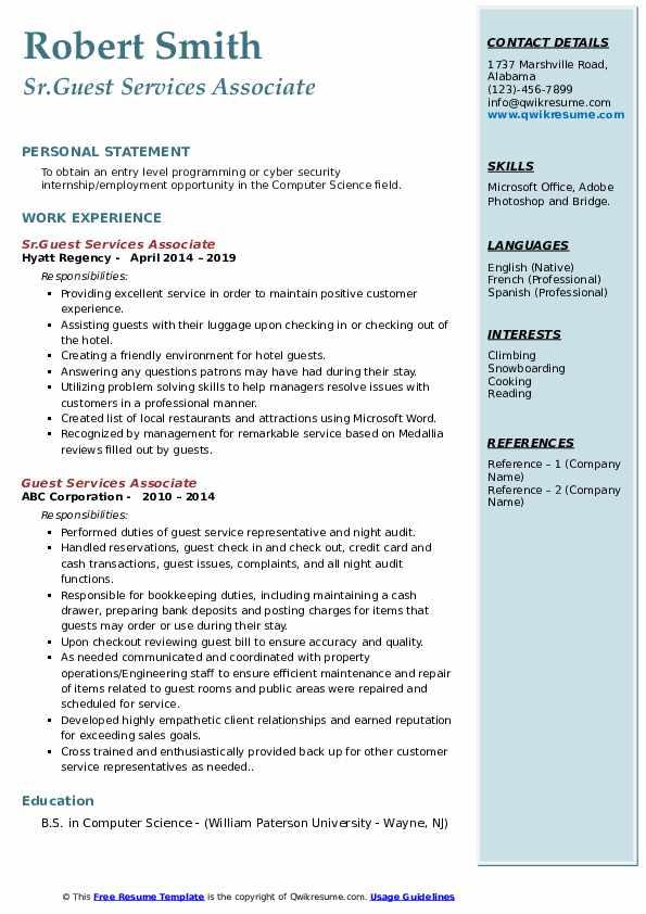 Sr.Guest Services Associate Resume Template