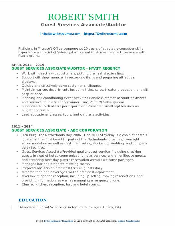 guest services associate resume samples