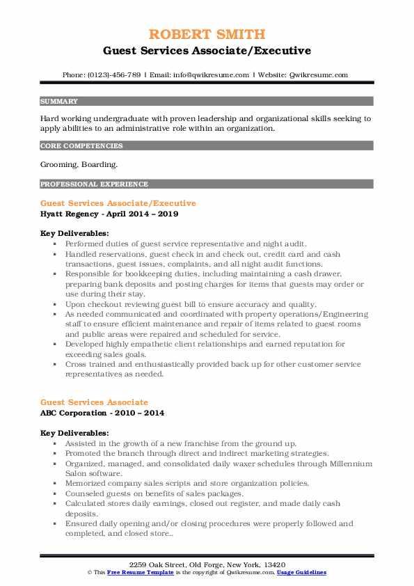 Guest Services Associate/Executive Resume Model