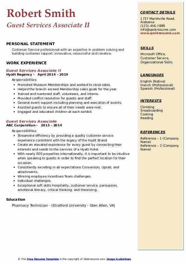 Guest Services Associate II Resume Format