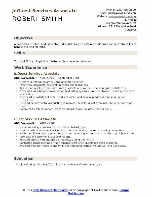 Jr.Guest Services Associate Resume Sample