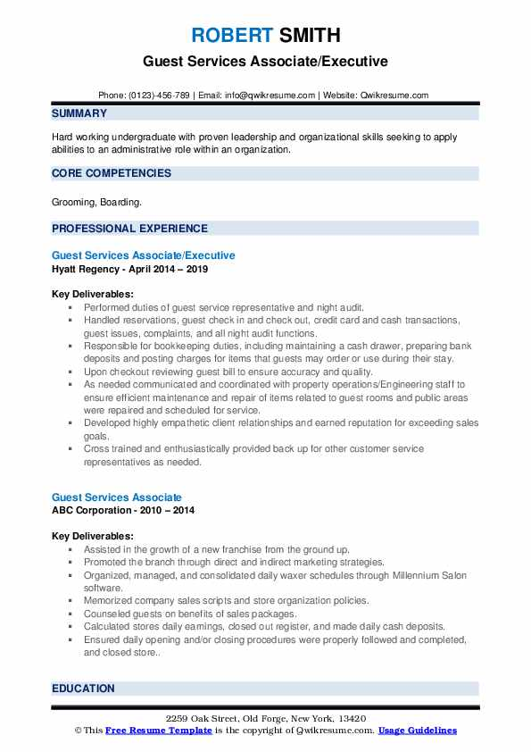 Hospitality Associate/Assistant Resume Example