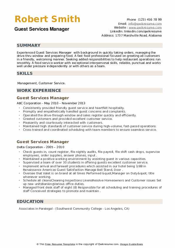 Guest Services Manager Resume example