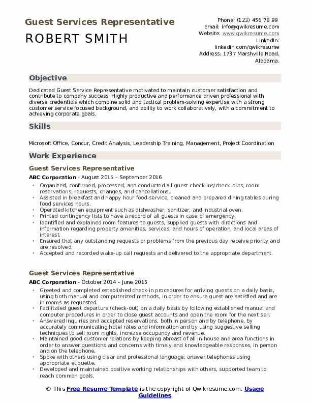 Guest Services Representative Resume Template