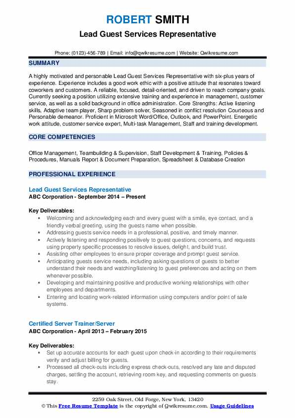 Lead Guest Services Representative Resume Example