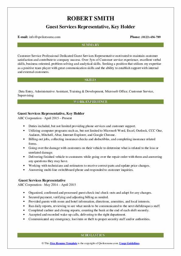 Guest Services Representative, Key Holder Resume Example