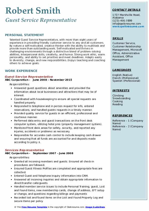 Guest Service Representative Resume Model