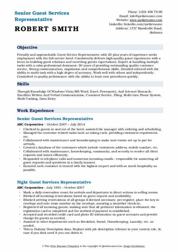 Senior Guest Services Representative Resume Example