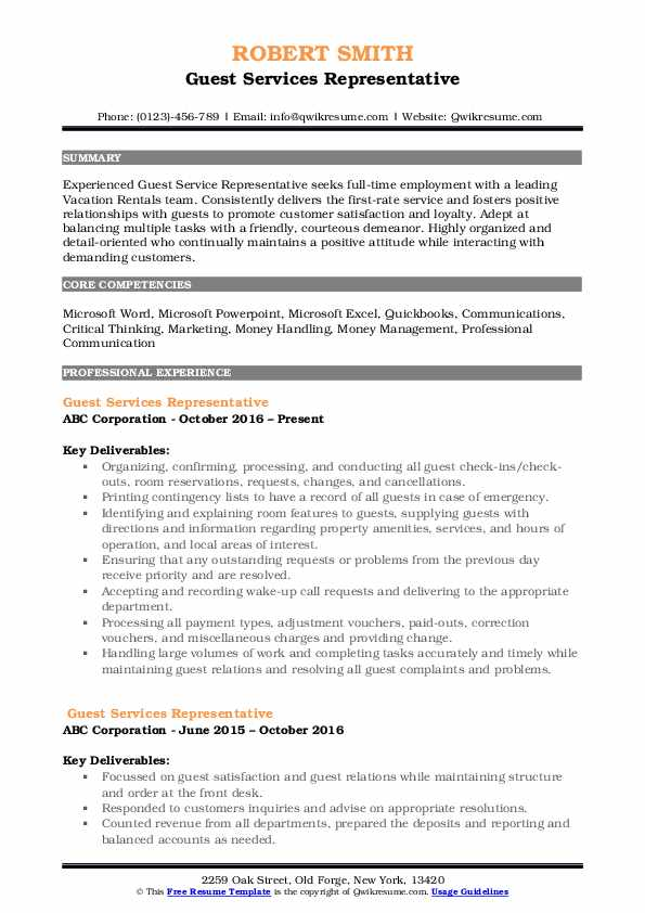 Guest Services Representative Resume Example