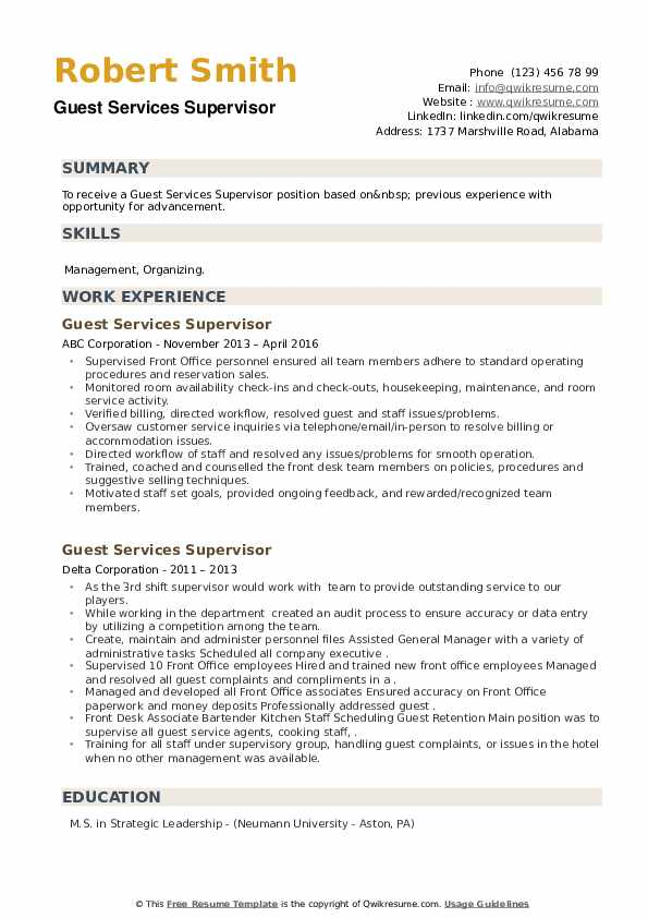 Guest Services Supervisor Resume example