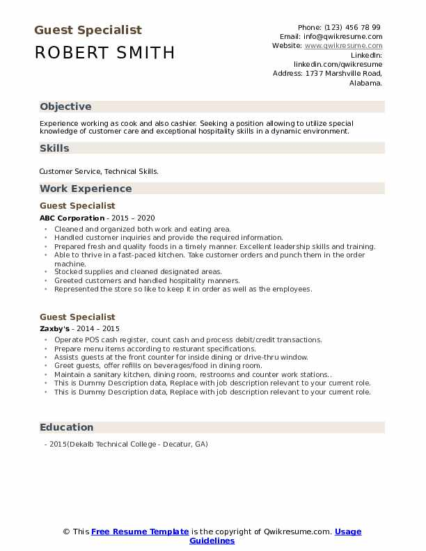 Guest Specialist Resume example