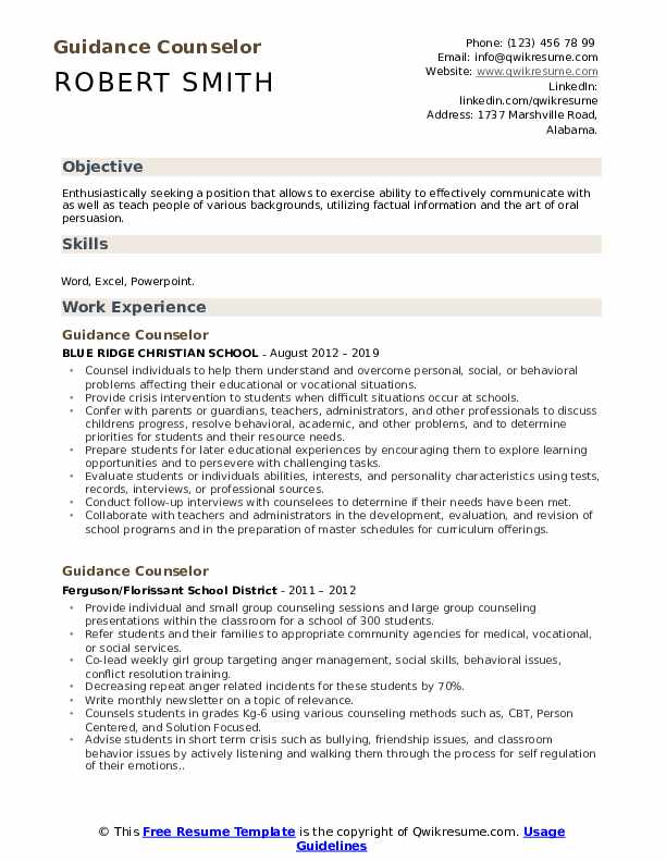 Guidance Counselor Resume Example