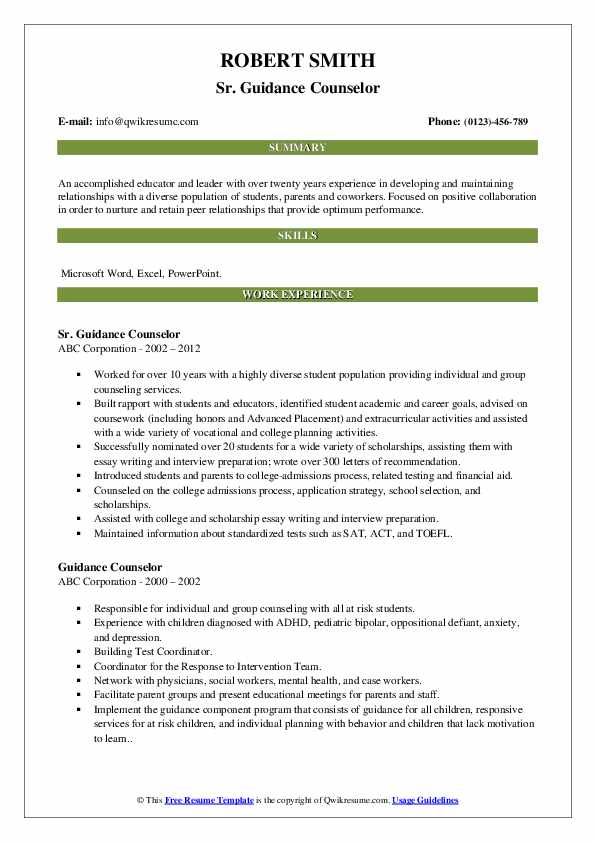 Sr. Guidance Counselor Resume Template