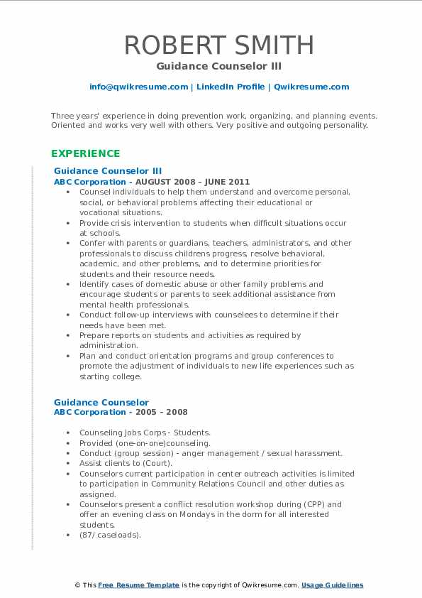 Guidance Counselor III Resume Sample