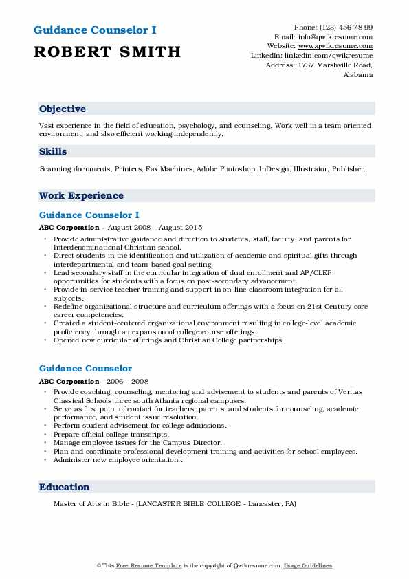 Guidance Counselor I Resume Example
