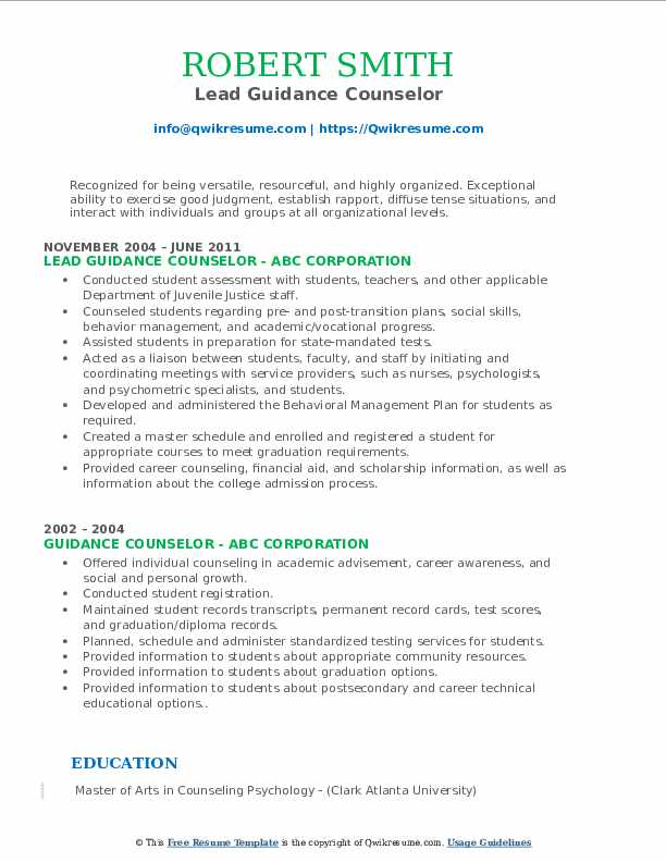 Lead Guidance Counselor Resume Template