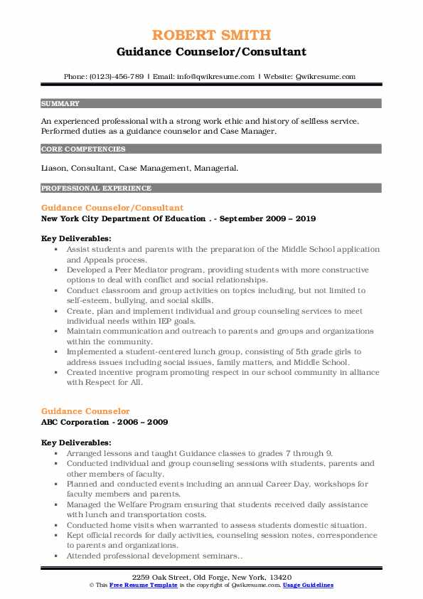 Guidance Counselor/Consultant Resume Template