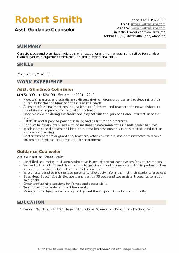 Guidance Counselor Resume Samples Qwikresume