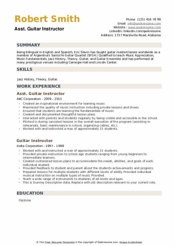Guitar Instructor Resume example
