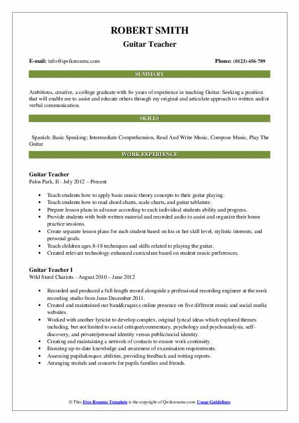 guitar teacher resume samples