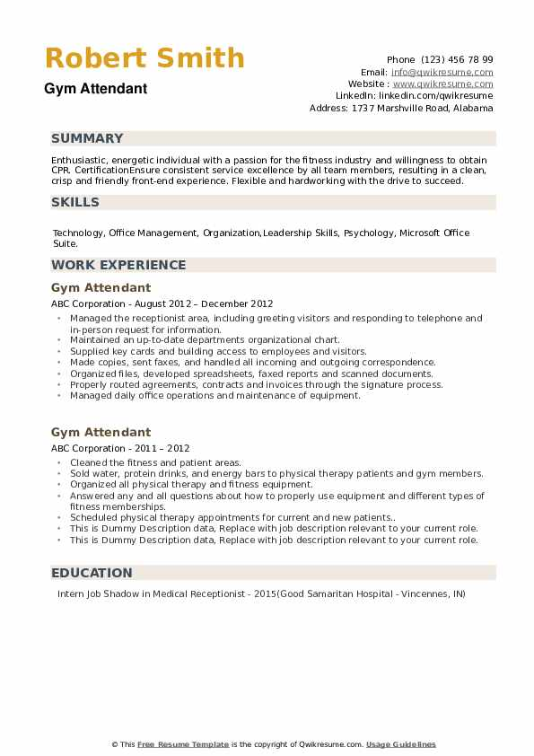 Gym Attendant Resume example
