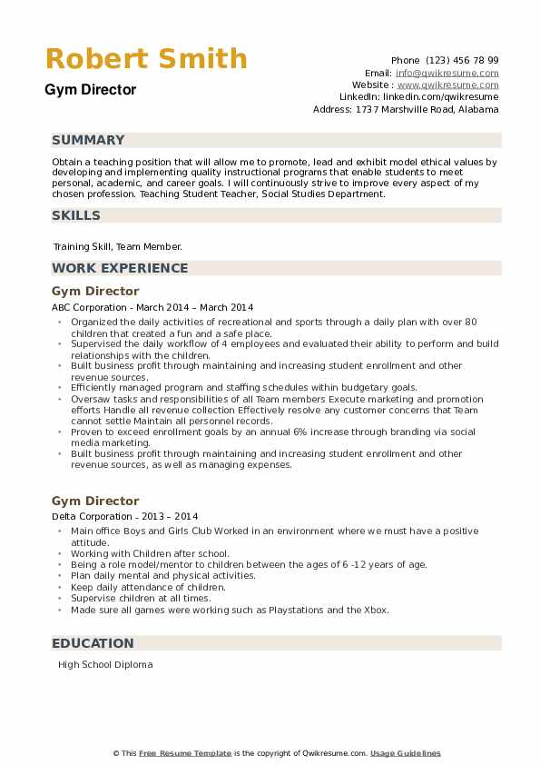 Gym Director Resume example
