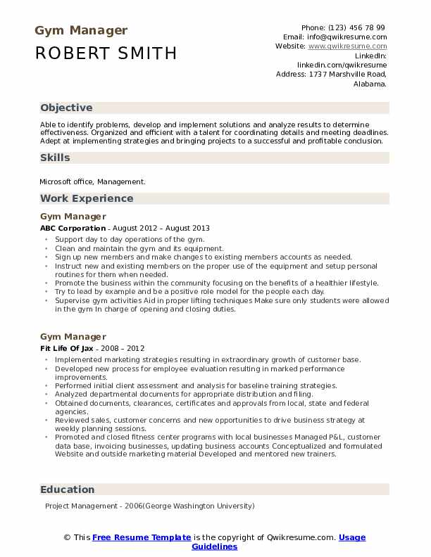 general manager health club resume
