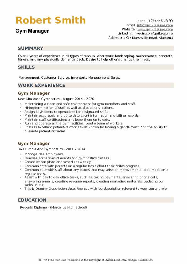 Gym Manager Resume example