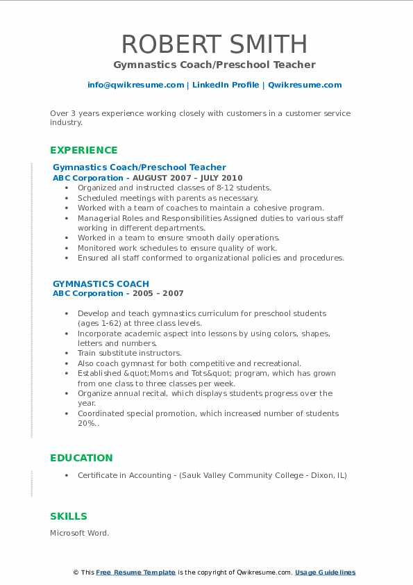 Gymnastics Coach Resume Samples Qwikresume