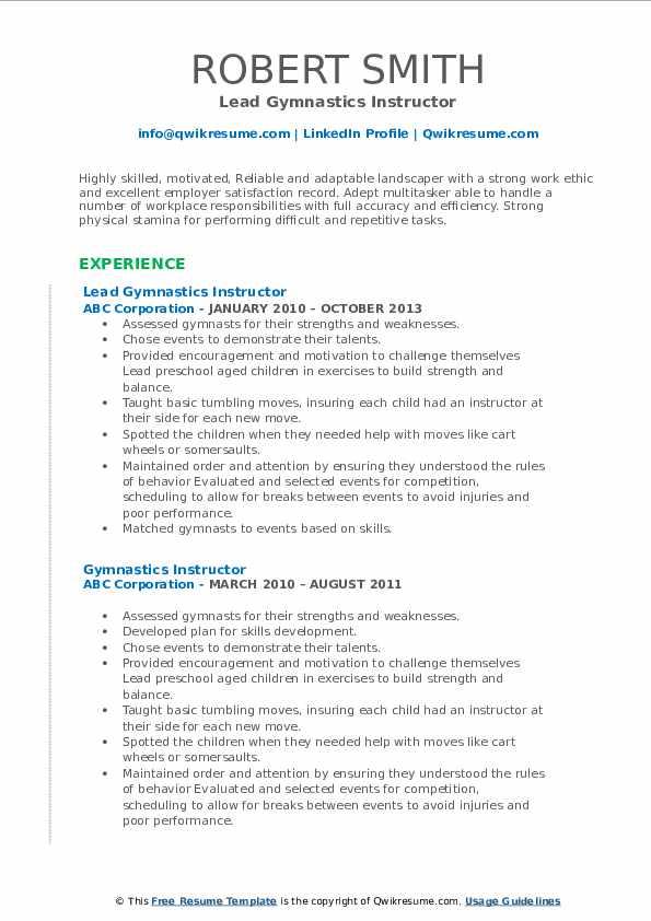 Lead Gymnastics Instructor Resume Format