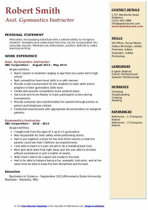Asst. Gymnastics Instructor Resume Template