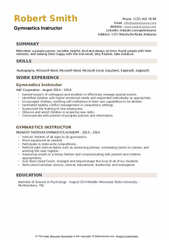 Gymnastics Instructor Resume example