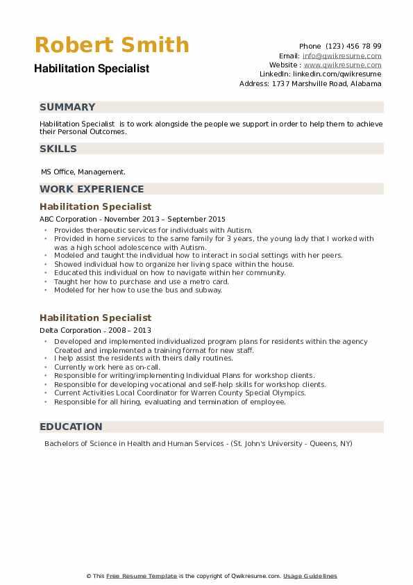 Habilitation Specialist Resume example