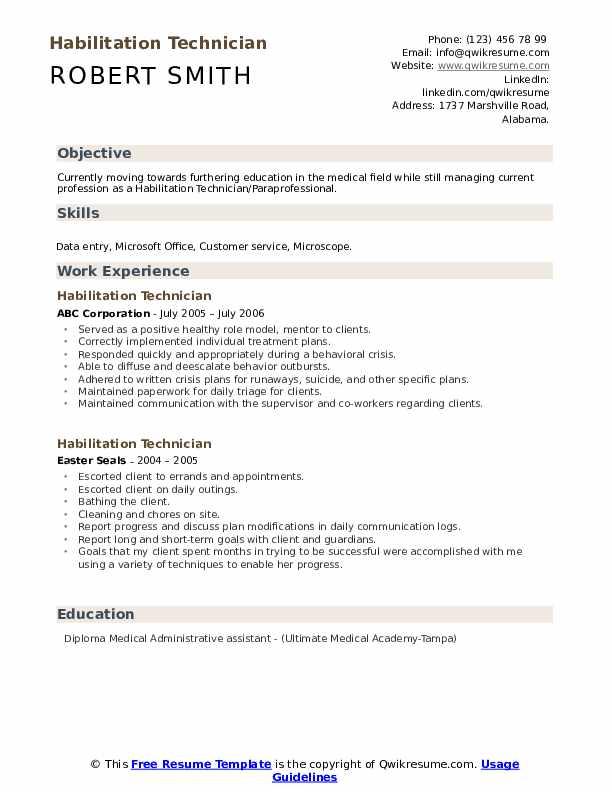 Habilitation Technician Resume example
