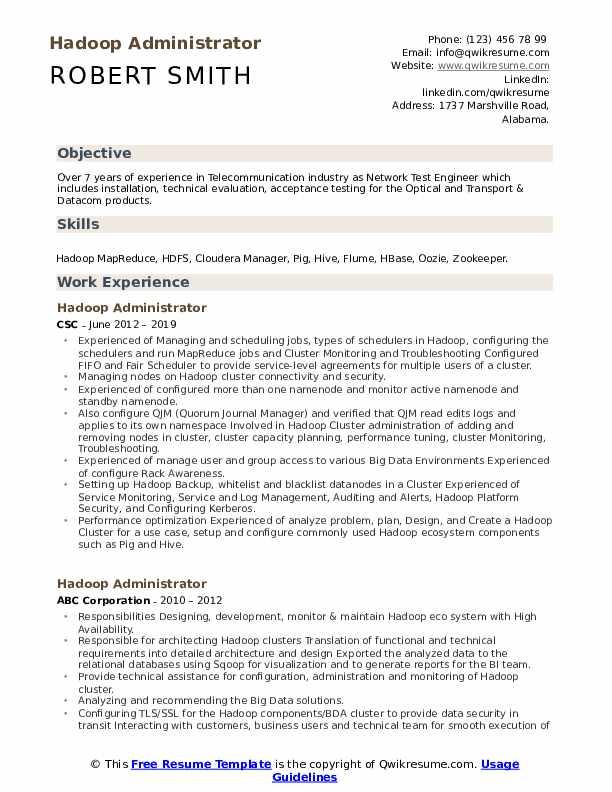 Hadoop Administrator Resume Example